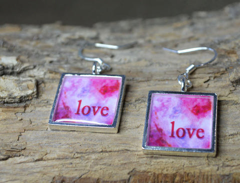 LOVE - Dangle Earrings, Pink Word Art Jewelry, handmade