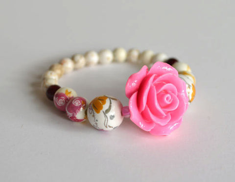 PINK ROSE Bracelet Beaded - Flower Beads, handmade, unique gift