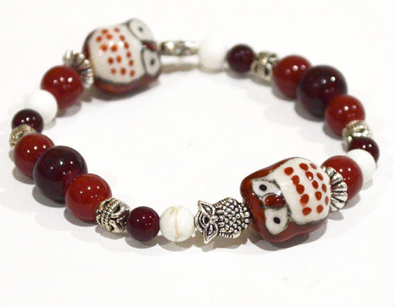 OWLS Beaded Bracelet Red - Owls Lovers Gifts, Autumn Fall Colors Owl Jewelry Hoo Hoo Animals
