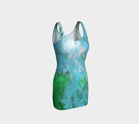Abstract Light Blue Green Bodycon Dress 1047