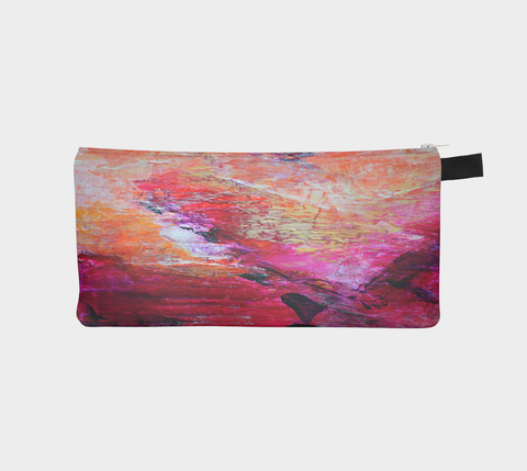 Abstract Heart - Pink Orange Fuchsia Pencil Case 1067
