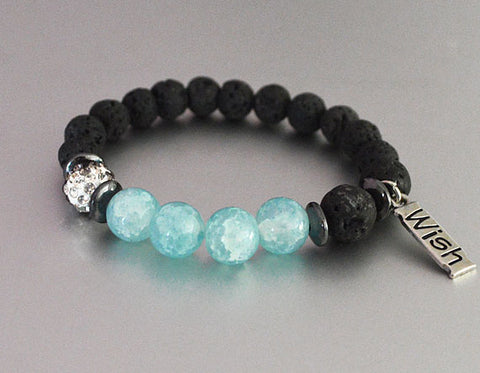 WISH Lava Beaded Diffuser Bracelet Black w Aqua Blue/Turquoise Accent Beads stretchy beaded bracelet