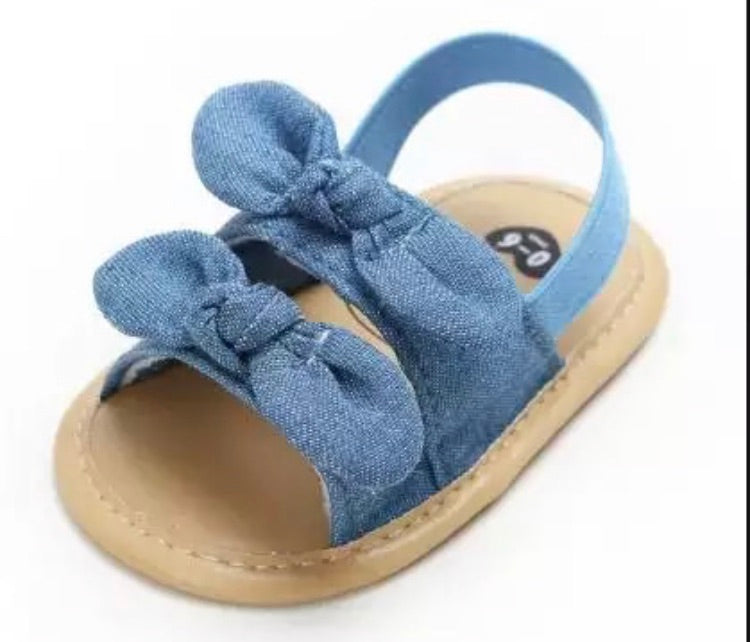 Sophie Denim Double Bow Prewalkers