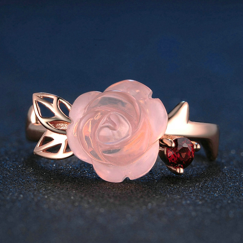 Rose Flower Cut Created Rose Quartz Ring (adjustable to fit any finger)