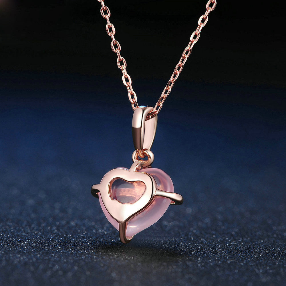 Heart Cut Created Rose Quartz Necklace