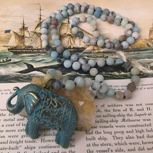 Amazonite Elephant Necklace - Necklace - AlphaVariable