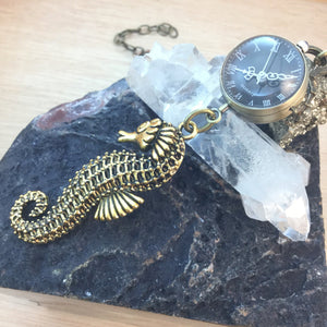 Seahorse Pocket Watch Necklace