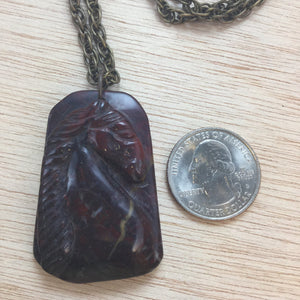 Jasper Agate Horse Necklace - Necklace - AlphaVariable