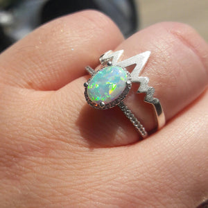 Opal Ring with Halo - Ring - AlphaVariable
