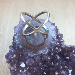 Sterling Silver X Ring - Sterling Silver Rings - AlphaVariable