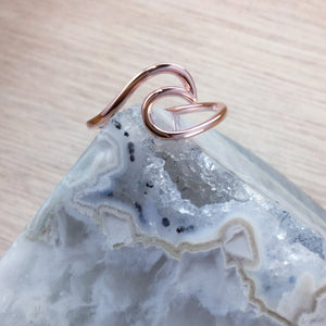Rose Gold Wave Ring - Sterling Silver Rings - AlphaVariable
