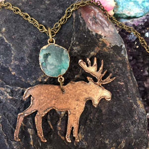 Druzy Moose Necklace - Necklace - AlphaVariable