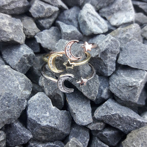 DPS Rose Gold Moon and Star Ring -  - AlphaVariable LifeStyle Brand