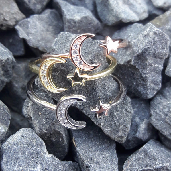 Rose Gold Moon and Star Ring -  - AlphaVariable LifeStyle Brand
