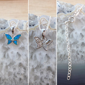 Opal Butterfly Necklace - Necklace - AlphaVariable