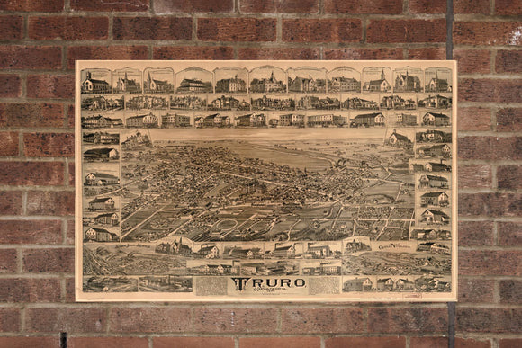 Vintage Truro Print, Aerial Truro Photo, Vintage Truro NS Pic, Old Truro Photo, Truro Nova Scotia Poster, 1889