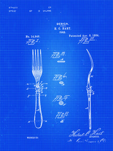 Patent Print of a Fork Patent From 1884 - Art Print - Patent Poster - Kitchen Art - Kitchen Decor - Kitchen Poster - Dining Room Art