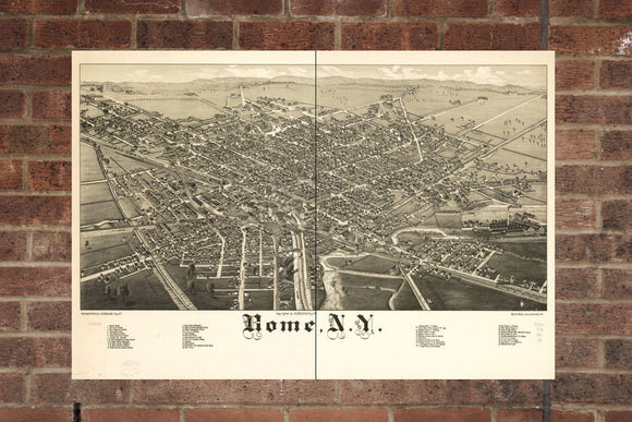 Vintage Rome Print, Aerial Rome Photo, Vintage Rome NY Pic, Old Rome Photo, Rome New York Poster, 1886
