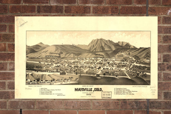 Vintage Maysville Print, Aerial Maysville Photo, Vintage Maysville CO Pic, Old Maysville Photo, Maysville Colorado Poster, 1882