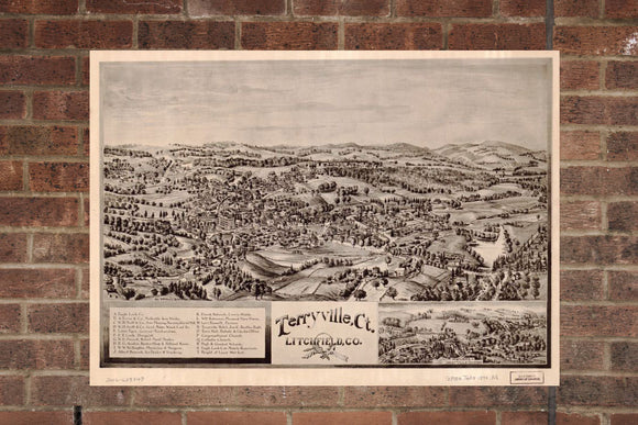 Vintage Terryville Print, Aerial Terryville Photo, Vintage Terryville CT Pic, Old Terryville Photo, Terryville Connecticut Poster, 1894