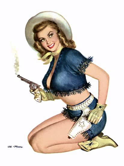 Pin Up Girl Blonde Cowgirl With Gun And Poster