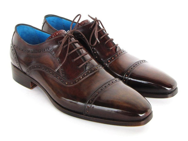cap toe anthracite brown oxford shoes