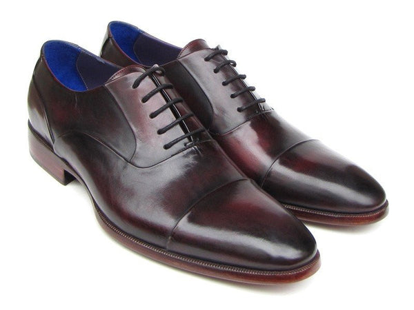 cap toe black purple oxford shoes