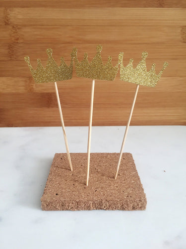 Gold Crown Sparkle Cupcake and Cake Toppers