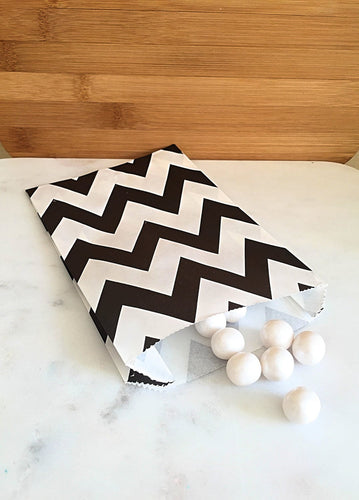 Black Chevron Goodie Bags, Party Favors, Food safe (12)