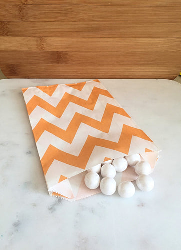 Peach Chevron Goodie Bags, Party Favors, Food safe (12)