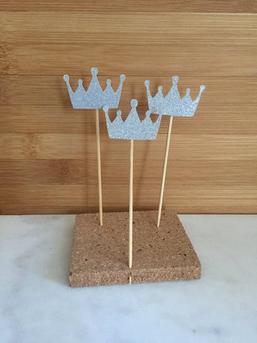 SILVER Crown Sparkle Cupcake and Cake Toppers