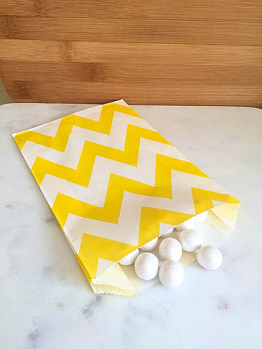 Yellow Chevron Goodie Bags, Party Favors, Food safe (12)