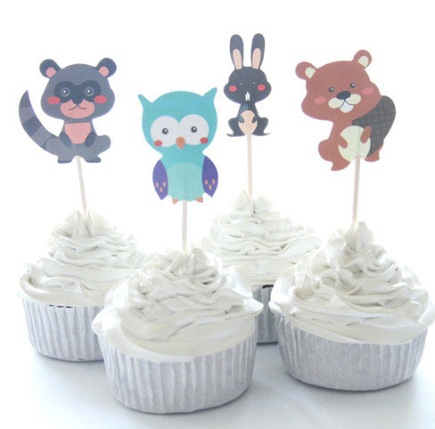 Woodland Animals Cake, Cupcake Toppers (24)