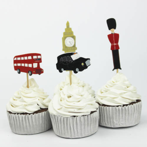 London Themed Cupcake, Cake Toppers (24)