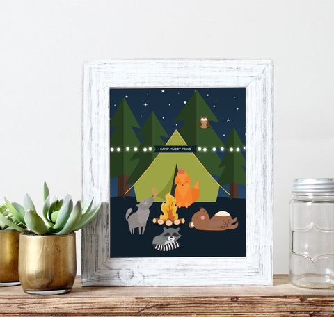 Woodland Animals Camping Nursery Art
