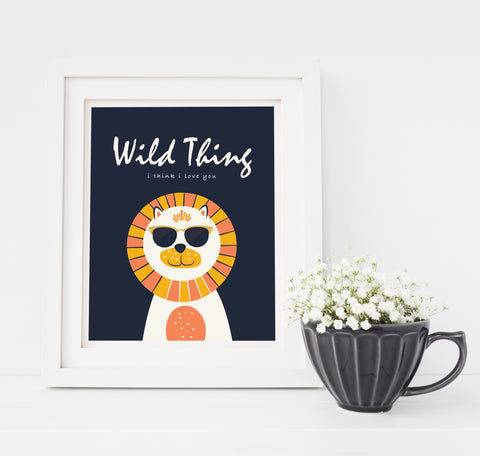 Wild Thing Nursery Art Hipster Lion with Sunglasses