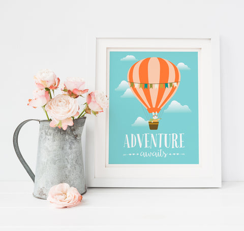 Hot Air Balloon Adventure Awaits Nursery Art Print