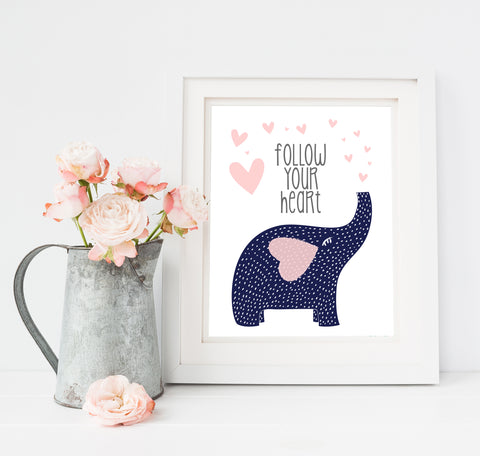 Follow Your Heart Art Print with Trumpeting Elephant in Navy and Pink Hearts