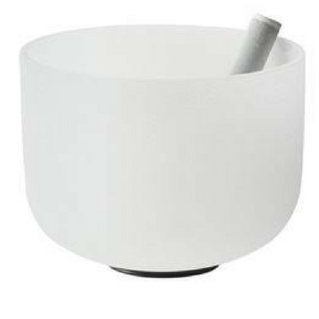 "Image of 14"" large frosted crystal singing bowl. Includes suede striker (playing mallet) and o-ring."