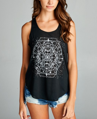 Image of Celestial Zodiac Black Yoga Top