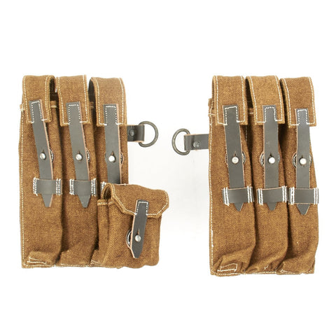 German WWII MP 40 Magazine Brown Jute and Leather Pouch Set - Maschinenpistole 40