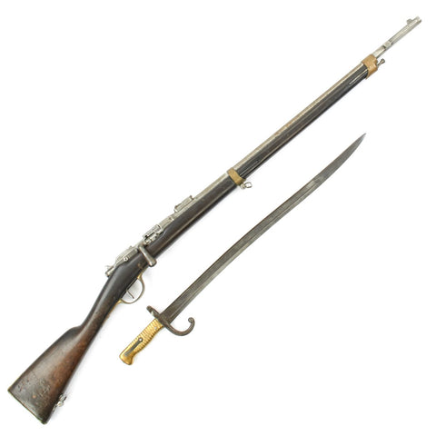 Original French MLE 1874 M80 Brass Mounted Gras Camel Short Rifle by St. Étienne with M1866 Sabre Bayonet