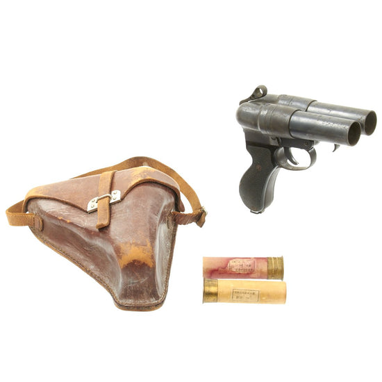 Original Japanese WWII Imperial Navy Two Barrel Type 90 Flare Signal Pistol with Leather Holster and 2 Flares