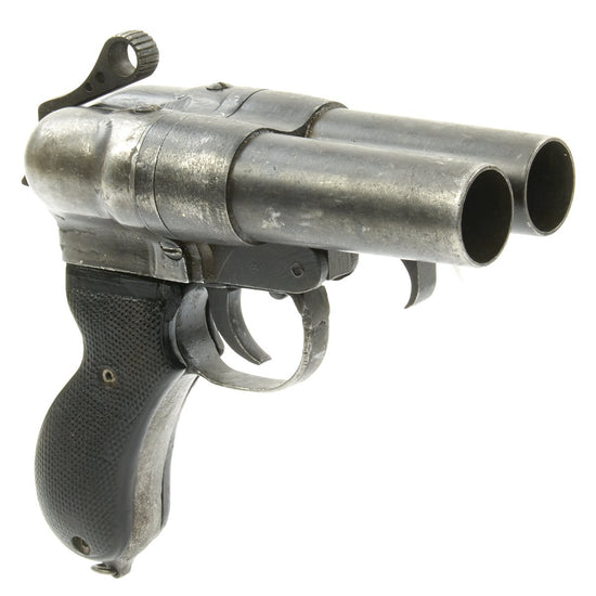 Original Japanese WWII Two Barrel Type 90 Flare Signal Pistol Serial C-05629 with Scrubbed Markings