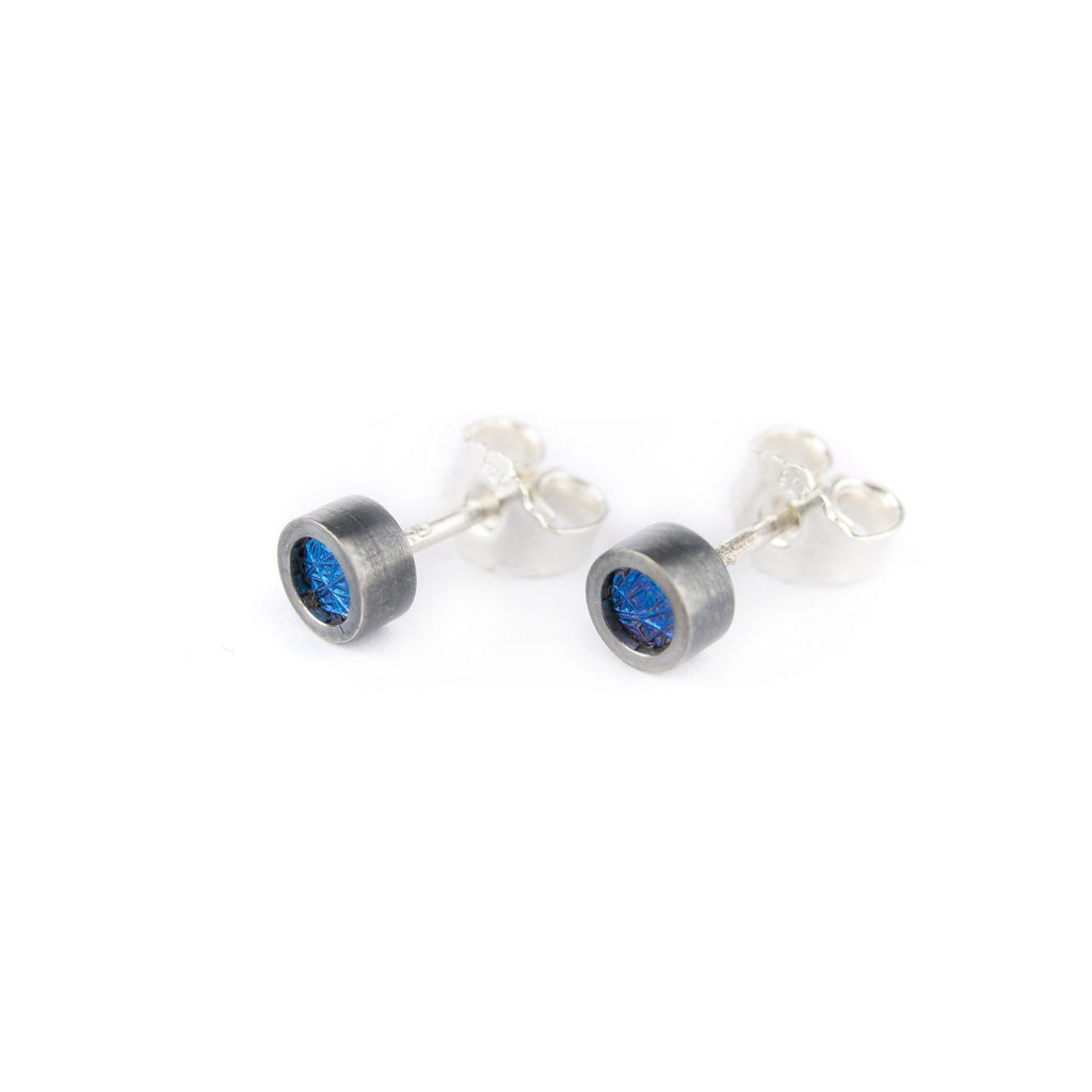 Earrings - Oxidised Silver Studs With Blue Niobium