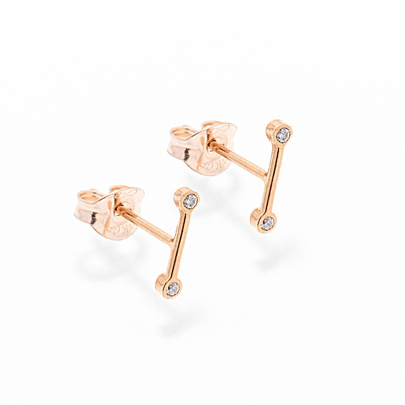 Earrings - Two Gold Diamond Line Earrings