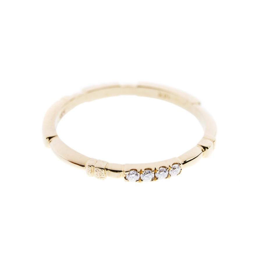Rings - 14k Yellow Gold Ring With 7 Diamonds