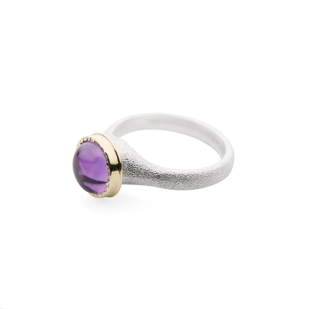 Rings - Silver Gold Amethyst Ring