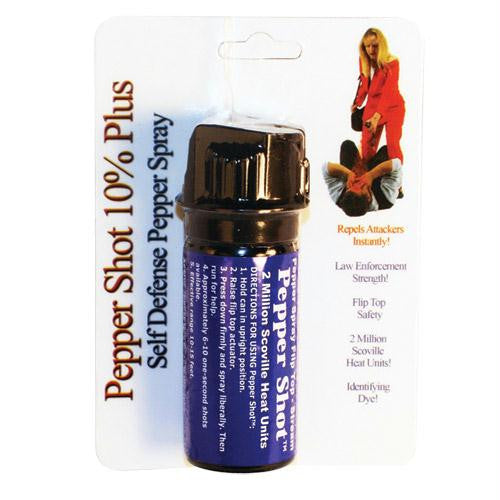 Pepper Shot 2 ounce 10% Flip top Actuator Pepper Spray Stream