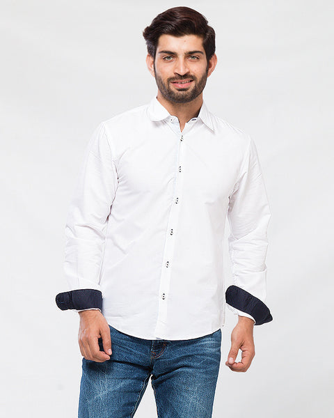 White Super Fine Cotton Shirt with Black Contrast